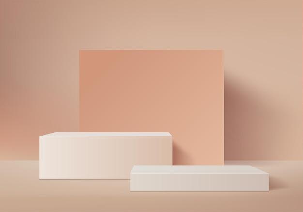 I prodotti di sfondo 3d mostrano la scena del podio con una piattaforma geometrica. sfondo rendering 3d con podio. stand per mostrare prodotti cosmetici. vetrina scenica su piedistallo brown studio