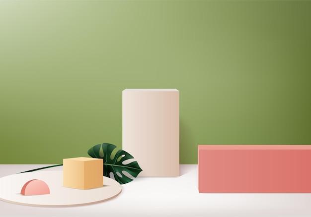 I prodotti di sfondo 3d mostrano la scena del podio con una piattaforma geometrica. sfondo rendering 3d con podio. stand per mostrare prodotti cosmetici. vetrina scenica su piedistallo studio verde