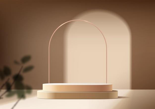 I prodotti di sfondo 3d mostrano la scena del podio con una piattaforma geometrica. sfondo vettoriale rendering 3d con podio. stand per mostrare prodotti cosmetici. vetrina scenica su piedistallo beige studio
