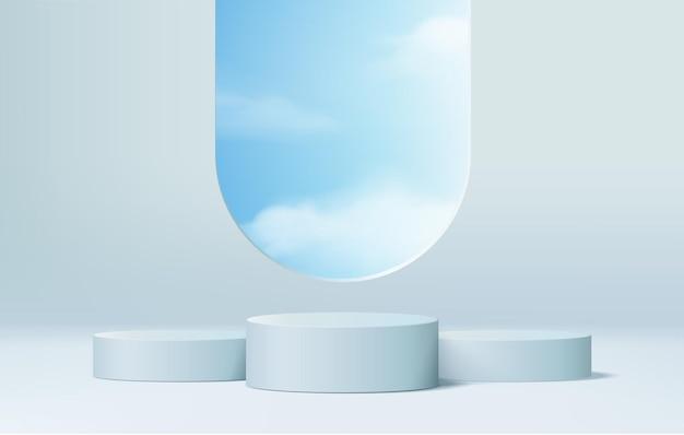 I prodotti di sfondo 3d mostrano la scena del podio con una piattaforma geometrica. sfondo vettoriale rendering 3d con podio. stand per mostrare prodotti cosmetici. vetrina scenica su piedistallo blue studio
