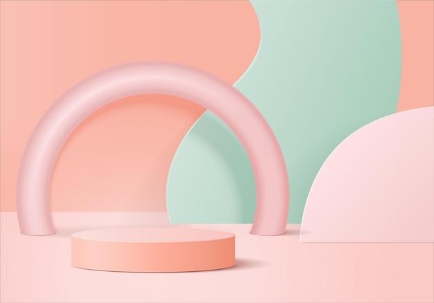I prodotti di sfondo 3d mostrano la scena del podio con una piattaforma geometrica. sfondo vettoriale rendering 3d con podio. stand per mostrare prodotti cosmetici. vetrina scenica su piedistallo studio rosa