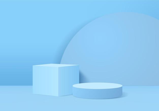 I prodotti di sfondo 3d mostrano la scena del podio con una piattaforma geometrica. vetrina del palco su piedistallo display blu studio