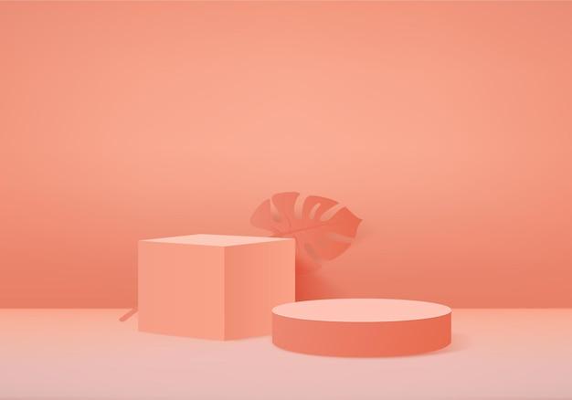 I prodotti di sfondo 3d mostrano la scena del podio con una piattaforma geometrica. vetrina da palco su piedistallo display arancione studio Vettore Premium