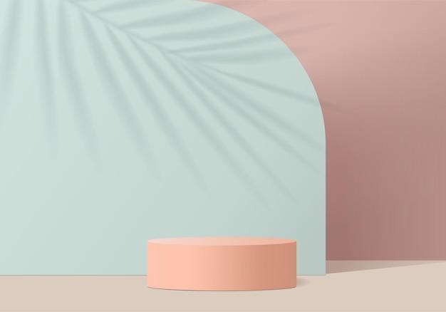 I prodotti di sfondo 3d mostrano la scena del podio con una piattaforma geometrica. vetrina del palco su piedistallo display rosa studio