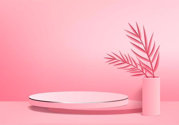 I prodotti di sfondo 3d mostrano la scena del podio con una piattaforma geometrica a foglia verde. sfondo rendering 3d con podio. stand per mostrare prodotti cosmetici. vetrina scenica su piedistallo studio rosa