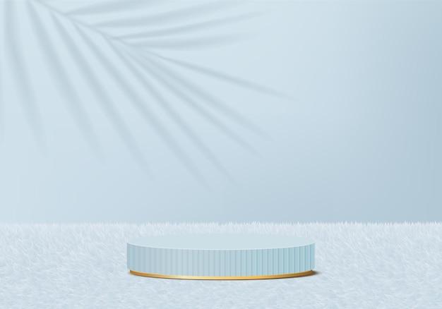 I prodotti di sfondo 3d visualizzano la scena del podio con la piattaforma geometrica della foglia verde. Vettore Premium