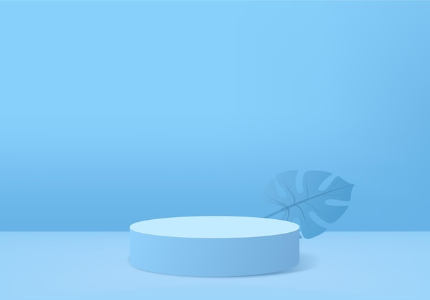 I prodotti di sfondo 3d visualizzano la scena del podio con la piattaforma geometrica della foglia verde.