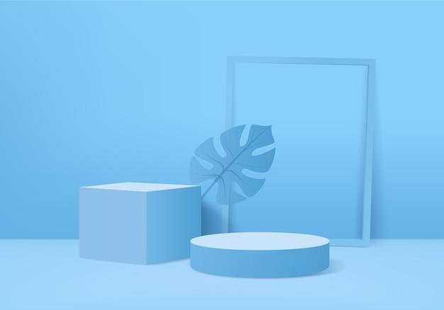 I prodotti di sfondo 3d visualizzano la scena del podio con sfondo di foglie