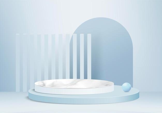 I prodotti di sfondo 3d mostrano la scena del podio con una piattaforma geometrica in pietra. sfondo rendering 3d con podio. stand per mostrare prodotti cosmetici. vetrina scenica su piedistallo blue studio