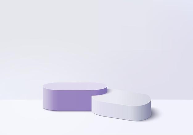 I prodotti di sfondo 3d mostrano la scena del podio con la piattaforma viola. sfondo vettoriale rendering 3d con podio. stand per mostrare prodotti cosmetici. vetrina scenica su piedistallo studio viola