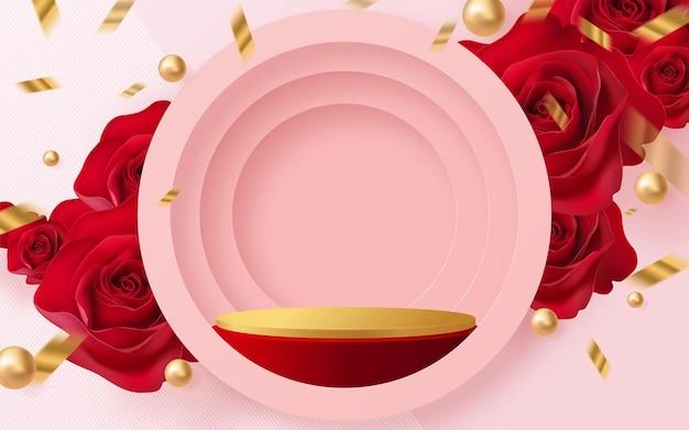 Prodotti di sfondo 3d per il podio di san valentino in sfondo rosa rossa vettore 3d con cilindro. stand da podio per mostrare prodotti cosmetici con stile artigianale sullo sfondo.