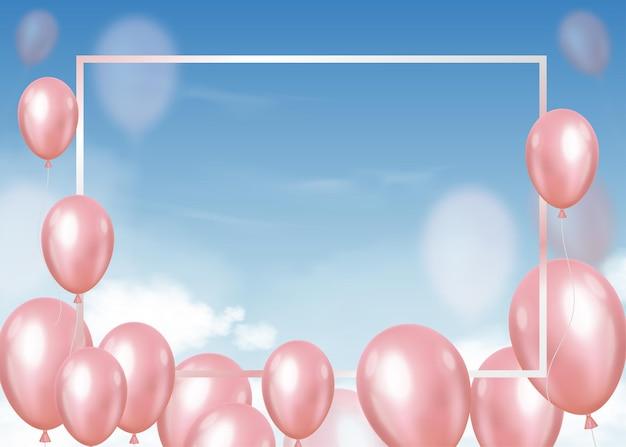 Palloncini 3d che volano sul cielo blu con soffici nuvole e cornice, palloncini di elio realistici in rosa pastello galleggianti.
