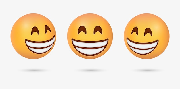 Emoticon raggiante 3d con occhi sorridenti o faccina sorridente felice per le reazioni dei social media