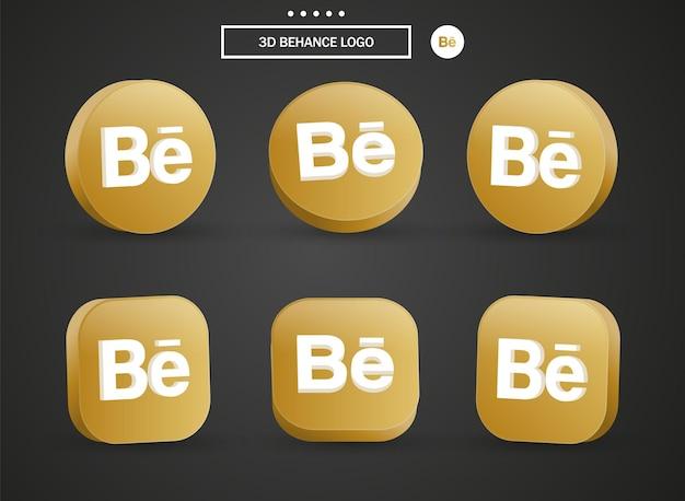 3d behance logo icona nel moderno cerchio dorato e quadrato per i loghi delle icone dei social media