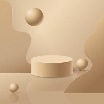 Podio beige 3d per l'esposizione del prodotto