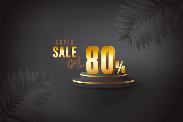 Sconto 3d migliore vendita banner con ottanta 80 percento Vettore Premium