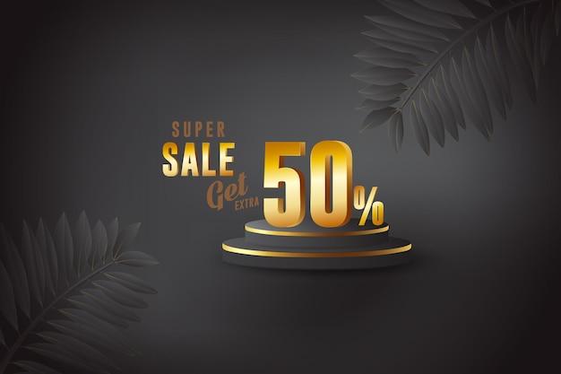 Sconto banner 3d migliore vendita con cinquanta 50 percento Vettore Premium