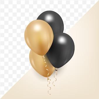 Illustrazione vettoriale di palloncino nero e dorato 3d