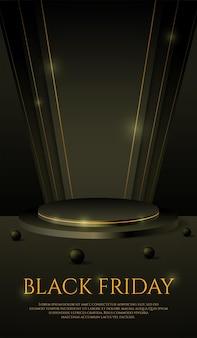 Esposizione del prodotto del podio nero 3d per la campagna di banner della storia di instagram sui social media del venerdì nero