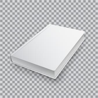 Modello di libro in bianco 3d con copertina bianca su sfondo trasparente, vista dall'alto in prospettiva. realistico mock up di libri.