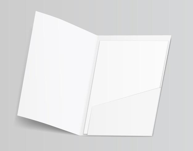 Illustrazione di fogli di documenti cartella bianca pulita in bianco 3d