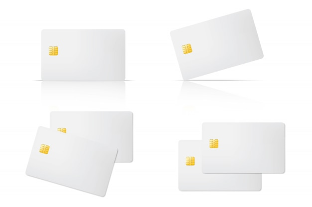 Carta di credito in bianco 3d con chip su sfondo trasparente. attività bancarie di commercio elettronico per la progettazione di massima del modello di acquisto.