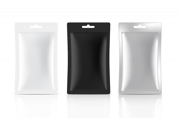Borsa di bustina opaca in bianco 3d isolata. food, beverage, healthcare and medical packaging progettazione di imballaggi.