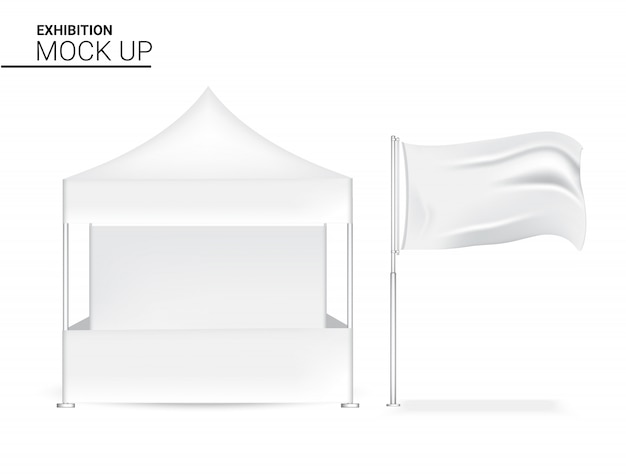 Esposizione realistica in bianco 3d dell'esposizione pop per l'esposizione di promozione di vendita di vendita del negozio con la bandiera