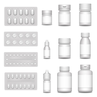 Imballaggio medico del modello in bianco 3d per la pillola e il farmaco liquido: flaconi spray, contenitore per droga, barattolo di medicina con tappo. set di icone realistiche di bolle bianche con pillole e capsule.