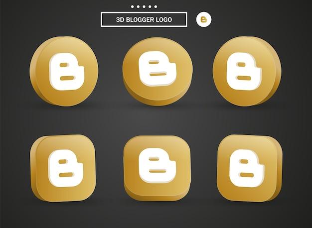 Icona del logo di blogger 3d nel moderno cerchio dorato e quadrato per i loghi delle icone dei social media