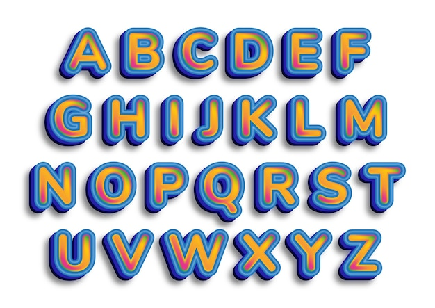 Set di alfabeti di calligrafia alla moda blu 3d