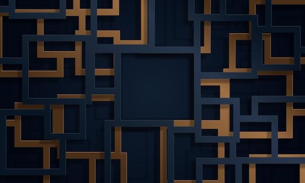 Linee 3d blu e oro in stile taglio carta. nuovo design per il tuo annuncio.