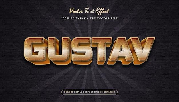 Stile di testo in grassetto 3d con effetto goffrato e strutturato nel concetto di oro di lusso