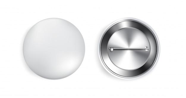 3d pulsante pin realistico souvenir su sfondo bianco. modello di oggetto concept design.
