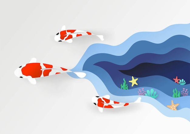 Pesce carpa 3d che nuota arte colorata fatta a mano stile di taglio della carta illustrazione vettoriale eps10