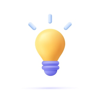 Icona della lampadina gialla minima in stile cartone animato 3d. idea, soluzione, business, concetto di strategia.