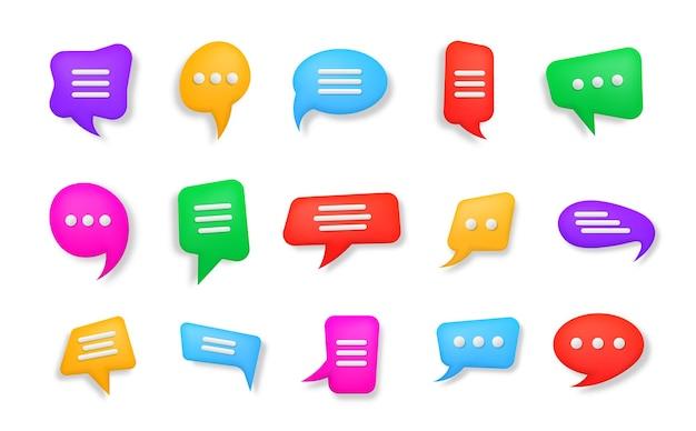 Bolle di chat 3d forme di messaggistica di dialogo con bolle di discorso multicolori lucide