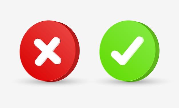 Pulsante segno di spunta 3d segno corretto e errato o segno di spunta verde e croce rossa