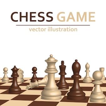 I pezzi del gioco di scacchi 3d progettano l'illustrazione isolata su fondo bianco
