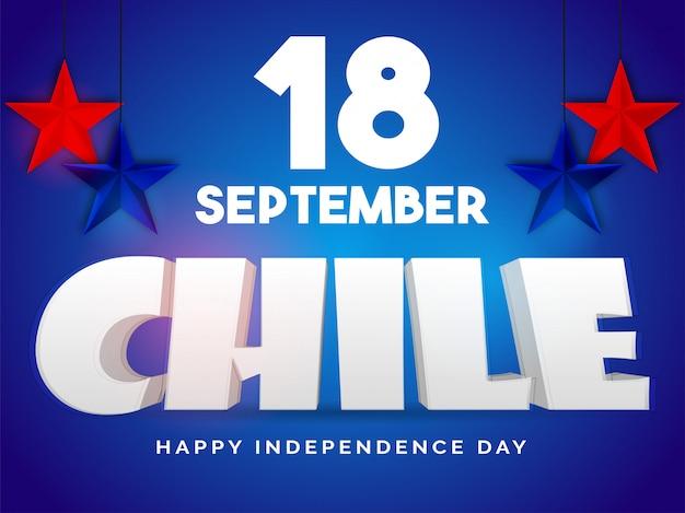3d cile con stelle pendenti festa dell'indipendenza del cile