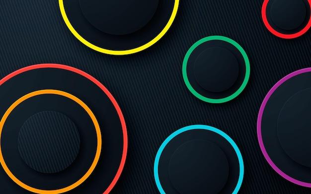 Sfondo di strati di dimensioni a forma di cerchio 3d con linea colorata