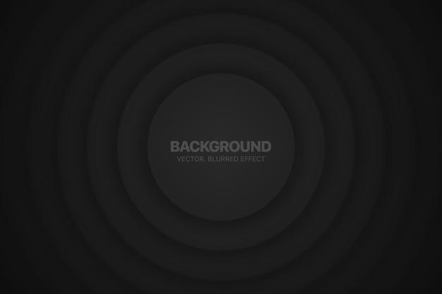 Cerchi 3d composizione circolare di sfondo astratto nero minimalista con effetto sfocato