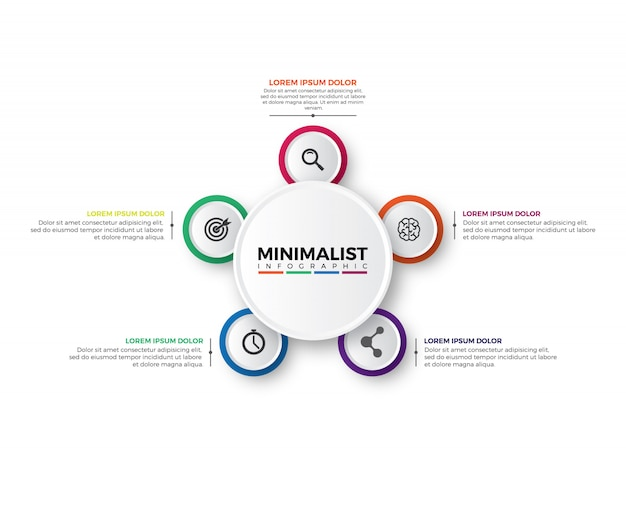 Modello di disegno circolare 3d infographic