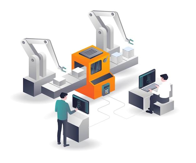 Operatore di macchine cnc 3d in disegno isometrico