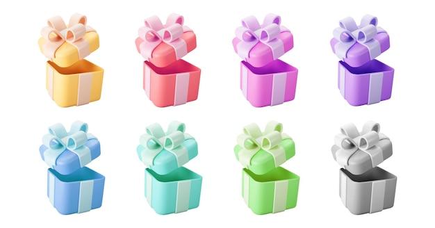 Scatole regalo aperte a colori 3d con fiocco in nastro pastello isolato su uno sfondo bianco. rendering 3d scatola sorpresa aperta vacanza moderna volante. icona vettoriale realistico per striscioni regalo, compleanno o matrimonio.