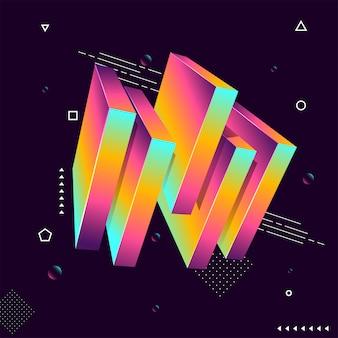 Blocchi colorati 3d su sfondo geometrico.