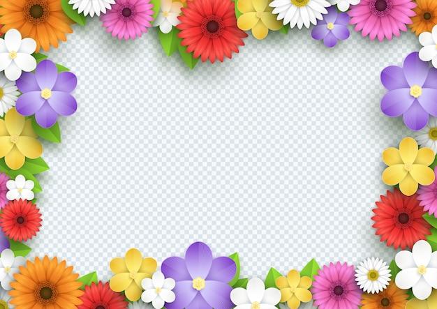 Cornice di fiori colorati 3d