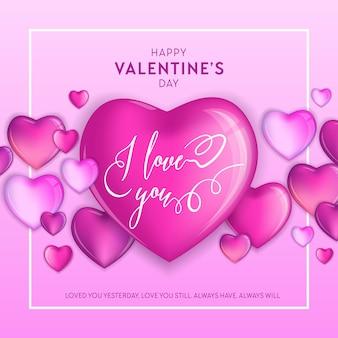 Cuori colorati 3d per happy valentines day hand drawn lettering design, illustrazione vettoriale di carta d'amore, volantino o poster di festa di nozze