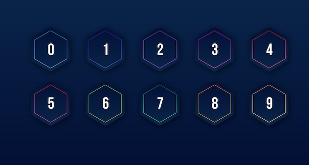 Icona colorata 3d impostata con punto elenco numerico da 1 a 10