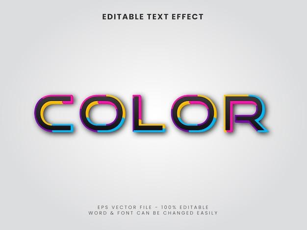 Effetto di testo colorato 3d vettore di effetto di testo modificabile